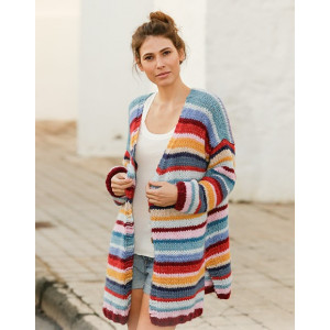 Color Clashby DROPS Design - Knitted Jacket Pattern Sizes S - XXXL