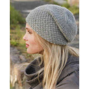 Mossing around by DROPS Design - Knitted Hat Pattern Size S - XL