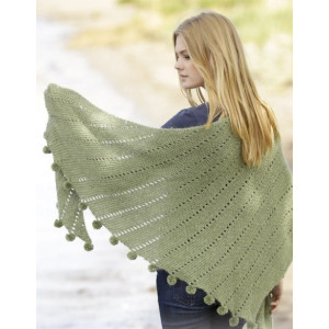 Valley Girl by DROPS Design - Knitted Shawl with pom poms Pattern