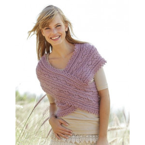 Summer Twist by DROPS Design - Knitted Shoulder Piece Cable and Lace Pattern size S - XXXL