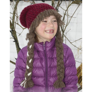 Anna Smiles by DROPS Design - Crochet Hat with Braids Pattern size 3 - 14 years