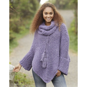 Lavender Grove by DROPS Design - Knitted Poncho in Moss Stitch Pattern Size S - XXXL