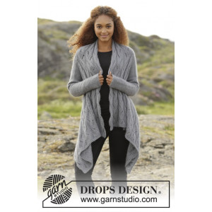 Winter Bird by DROPS Design - Knitted Square Jacket Lace Pattern size S - XXXL