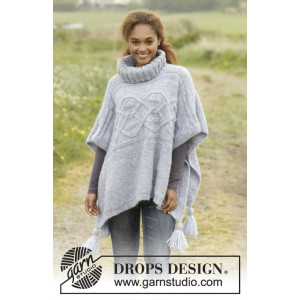 Alanna by DROPS Design - Knitted Poncho with Cables Pattern size S/M - XXXL