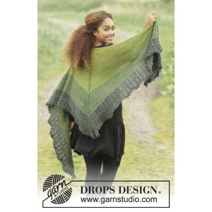 Shades of Eire by DROPS Design - Knitted Shawl Lace Pattern 210x60-65 cm