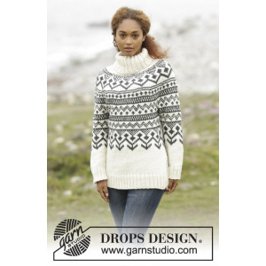 Black Ice by DROPS Design - Knitted Jumper with Nordic Pattern size S - XXXL