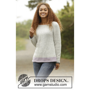 Purple Camilla by DROPS Design - Knitted Jumper with raglan Pattern size S - XXXL