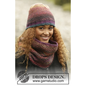 Eventide by DROPS Design - Knitted Hat and Neck Warmer Pattern size S - L