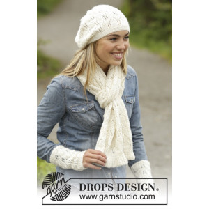 Snow Angel by DROPS Design - Knitted Hat, Scarf and Wrist warmers Pattern size S/M - M-L