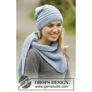 Blue Winds by DROPS Design - Knitted Hat and Shawl in Garter Stitch pattern size S - XL