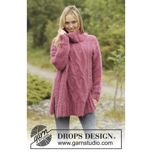 Warm Wine by DROPS Design - Knitted Oversized Jumper with Cables Pattern size S - XXXL
