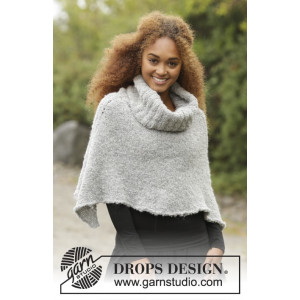 Echoes by DROPS Design - Knitted Poncho with Turtle Neck Pattern size S - XXXL