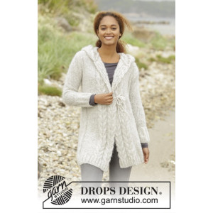 Melody of Snow by DROPS Design - Knitted Jacket with Cables Pattern size XS - XXXL