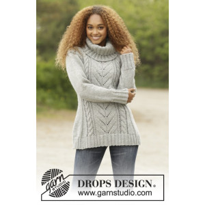 Snow Tracks by DROPS Design - Knitted Jumper with Cables Pattern size S - XXXL