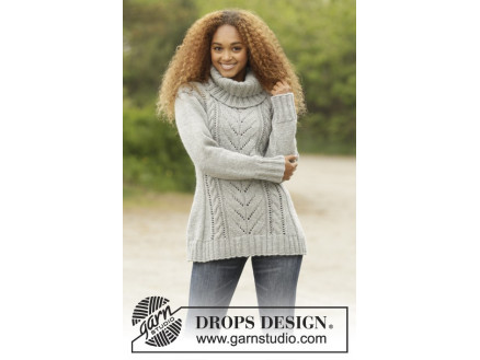 8344db261 Snow Tracks by DROPS Design - Knitted Jumper with Cables Pattern size S -  XXXL