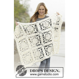 Winter Crystal by DROPS Design - Crochet Blanket Squares Pattern 80/104-104/128 cm
