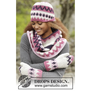 Pink Maze by DROPS Design - Crochet Hat, Neck Warmer and Mittens Pattern size S-XL