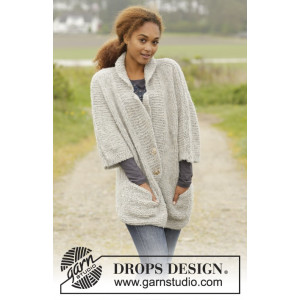 Clarice by DROPS Design - Knitted Jacket with Pockets Pattern size S - XXXL