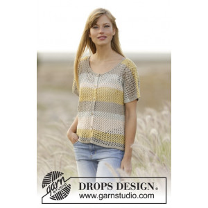 Einkorn Cardigan by DROPS Design - Knitted Jacket with Lace Pattern size S - XXXL