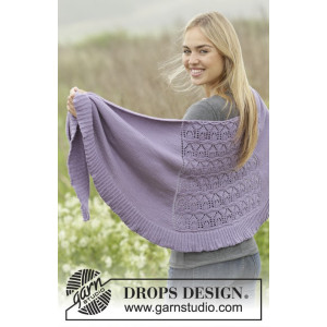 Lavender Leaves by DROPS Design - Knitted Shawl Lace Pattern 175x45 cm
