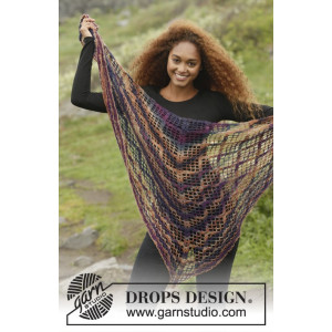 Loren by DROPS Design - Crochet Shawl with Lace Pattern 154x72 - 172x80 cm