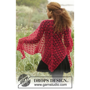 Carmen by DROPS Design - Crochet Shawl with Lace Pattern 216x75 cm