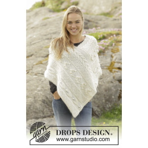 Snow Beads by DROPS Design - Knitted Poncho with different Patterns size S/M - XXL/XXXL