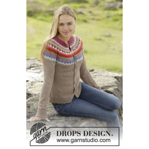 Stavanger Cardigan by DROPS Design - Knitted Jacket with Multi-coloured yoke Pattern size S - XXXL