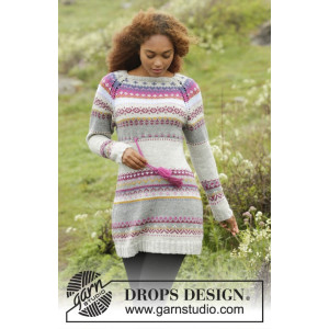 Highland Heather by DROPS Design - Knitted Dress with Multi-coloured Pattern size S - XXXL