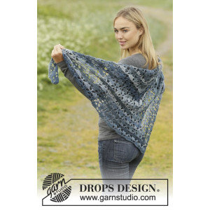 Seven Seas by DROPS Design - Crochet Shawl with Fans Pattern 180 x 72 cm