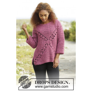 Autumn Rose by DROPS Design - Crochet Jumper with Fan Pattern size S - XXXL