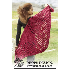 Autumn Fire by DROPS Design - Knitted Shawl Lace Pattern 150x75 cm