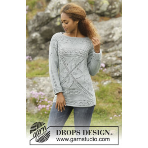 Lucky Charm by DROPS Design - Knitted Jumper with Leaf Pattern size S - XXXL