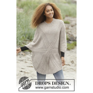 Sand Tracks by DROPS Design - Knitted Jumper with Cables Pattern size S - XXXL