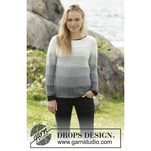Shades of Grey by DROPS Design - Knitted Jumper with round yoke Pattern size S - XXXL