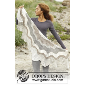 Blizzard by DROPS Design - Knitted Shawl with Wave Pattern 138x60 cm