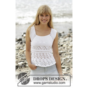 Aura by DROPS Design - Knitted Top with Lace Pattern size S - XXXL