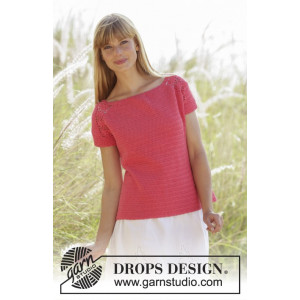 Warm Apricot by DROPS Design - Crochet Top with lace Pattern size S - XXXL