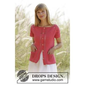 Warm Apricot Cardigan by DROPS Design - Crochet Jacket with Lace Pattern size S - XXXL