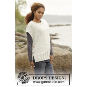 Winter is Coming by DROPS Design - Knitted Vest with Vents Pattern size S - XXXL