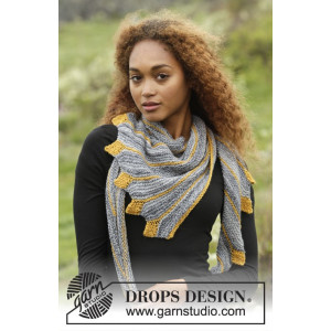 Dragon Tail by DROPS Design - Knitted Shawl with Leaves Pattern 156x50 cm