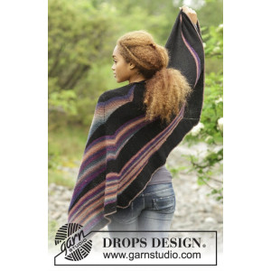 Colours in the Dark by DROPS Design - Knitted Shawl with Stripes Pattern 180x47 cm