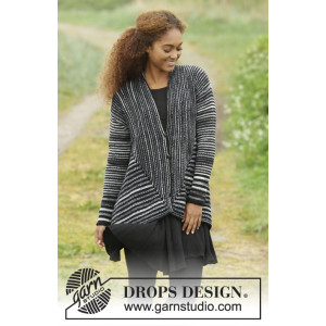 Midnight Roads by DROPS Design - Knitted Jacket with Shawl Collar Pattern size S - XXXL