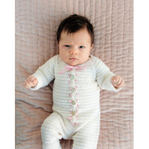 My Sweetie by DROPS Design - Crochet Baby Onesie for Christening Pattern Size 1/3 months - 2 years