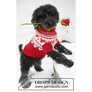 Valentino by DROPS Design - Knitted Dog's Jumper with Nordic Pattern size XS - L