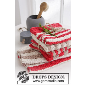 Make It Shine! by DROPS Design - Knitted Cloths with Stripes Pattern 26x26 cm