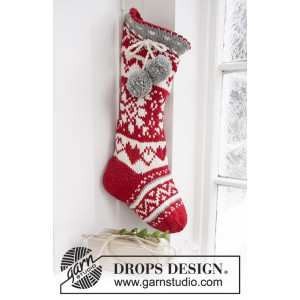 Sweet Treasures by DROPS Design - Knitted Christmas Stocking with Nordic Pattern 37x15 cm