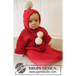 The First Noel by DROPS Design - Knitted Baby bunting bag Pattern size 1/3 months - 3/4 years