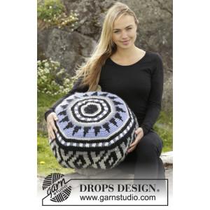 Inti by DROPS Design - Crochet Pouf Colour Pattern 48x18 cm