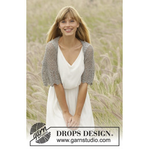 From Grace by DROPS Design - Knitted Shoulder Piece with Lace Pattern size S - XXXL